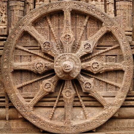 View on the ancient Surya Hindu Temple, Sun Temple,  at Konarak, Orissa, India. 13th Century AD