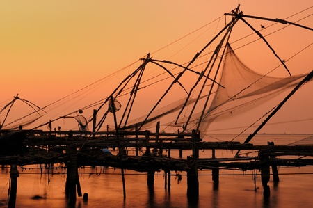 Chinese fisching nets in Cochin, Kerala, India photo