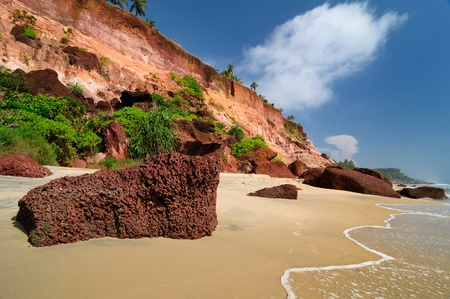 Exotic cliff beach in Varkala. Kerala. India photo