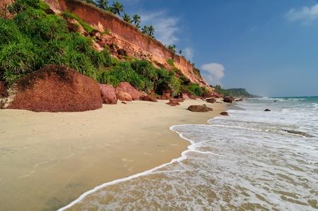 varkala: Exotic cliff and palm tress beach in Varkala. Kerala. India