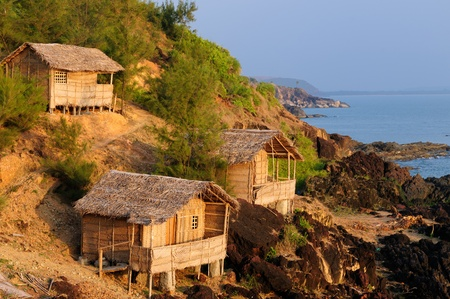 The most beautifull beach in India near Gokarn city. Karnataka. Bamboo Huts photo