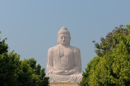 bodhgaya: Giant Buddha in Bodhgaya, Bihar, India.  Stock Photo