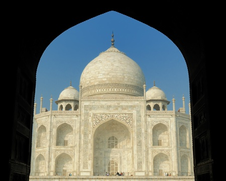 uttar: White marble Taj Mahal in  India, Agra, Uttar Pradesh Stock Photo