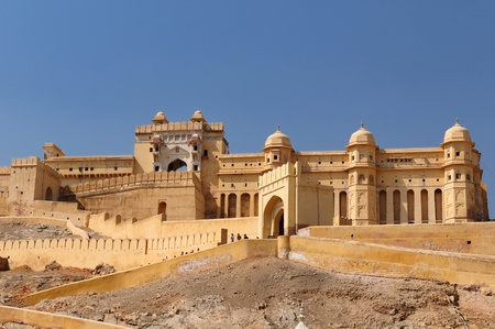 fortress: Beautifoul Amber Fort near Jaipur city in India. Rajasthan