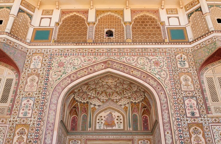 Beautifoul Amber Fort near Jaipur city in India. Rajasthan. Main entrance Stock Photo - 12098403