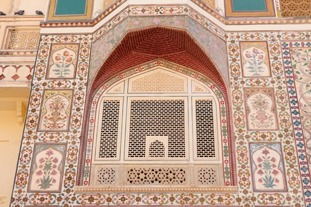 Beautifoul Amber Fort near Jaipur city in India. Rajasthan. Main entrance, detail Stock Photo - 12098412