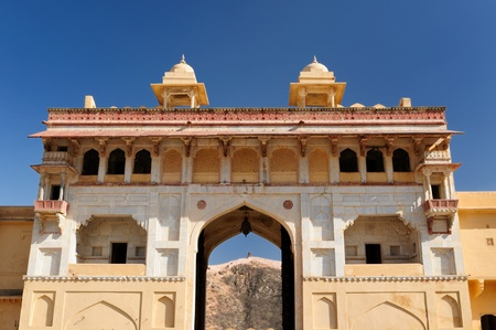 jagmandir: Beautifoul Amber Fort near Jaipur city in India. Rajasthan. Main gate Stock Photo