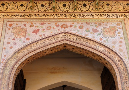 Beautifoul Amber Fort near Jaipur city in India. Rajasthan. Detail main gate photo