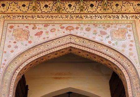 jagmandir: Beautifoul Amber Fort near Jaipur city in India. Rajasthan. Detail main gate