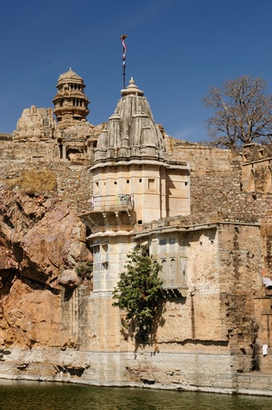 jagmandir: Beautifoul Fort Chittor in  Chittorgarh, India. Rajasthan. Sammidheshwar temple Stock Photo