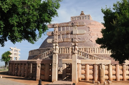 the stupa: Ancient Stupa in Sanchi, Madhya Pradesh, India.