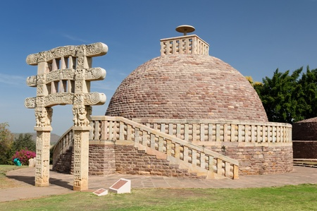 Ancient Stupa in Sanchi, Madhya Pradesh, India.