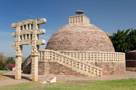 Ancient Stupa in Sanchi, Madhya Pradesh, India.