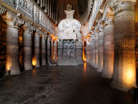 View inside of ancient Buddhist rock temple in Ajanta, Maharashtra, India (Unesco) Stock Photo
