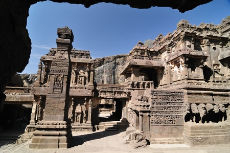 View of ancient Buddhist cave temples at Ellora, Maharashtra, India (Unesco) Stock Photo