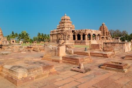 The ruins ancient hindu temple in Pattadakal near Badami, UNESCO World Heritage Site, Karnataka, India photo