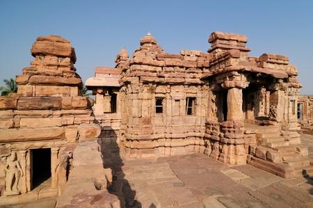 The ruins ancient hindu temple in Pattadakal near Badami, Karnataka, India