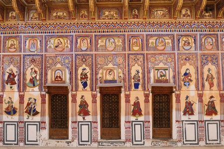 Frescoed Havelis in Shekhawati, traditional ornately decorated residences,  India. Rajasthan
