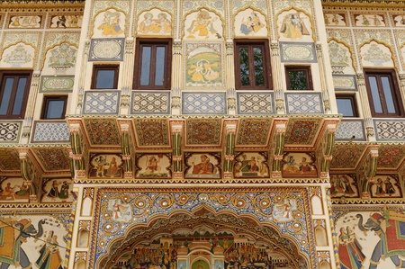 frescoed: Frescoed Havelis in Shekhawati, traditional ornately decorated residences,  India. Rajasthan