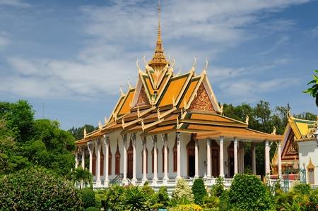 cambodia sculpture: Royal Palace in Phnom Penh, Cambodia, Golden Pagoda Stock Photo