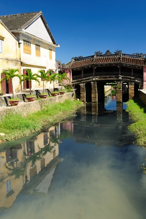 Hoi An city - highlight of any trip to Vietnam. Japanese covered brigde - UNESCO site.  Vietnam Banco de Imagens