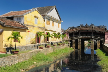 hoi an: Hoi An city - highlight of any trip to Vietnam. Japanese covered brigde - UNESCO site.  Vietnam Stock Photo