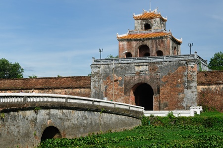 hue: Emperor palace complex in Hue, Vietnam. Main gate in the fort well
