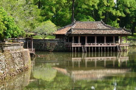 Vietnam, ancient Tu Duc royal tomb near Hue Stock Photo