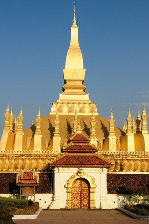 vientiane: The most important national monument in Laos, Pha That Luang in Vientiane. Pha That Luang (Great Stupa, Great Sacret Reliquary) is a symbol of both the Buddhist religion and Lao sovereignty.