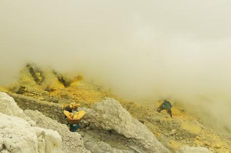 The people which taken and carry the sulphur from caldera Kawah Ijen volcano near Bondowoso, Baluran National Park, Indonesia, East Jawa