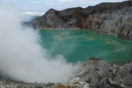 View at the caldera Kawah Ijen sulfur volcano near Bondowoso, Baluran National Park, Indonesia, East Jawa photo