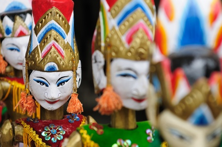 Souvenir from Bali island - traditional wood painting puppet. Indonesia.  Stock Photo