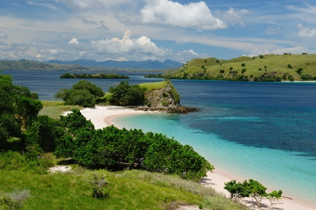 nusa: Beach in the Komodo National Park - paradise islands for diving and exploring. The most populat tourist destination in Indonesia, Nusa tenggara. Stock Photo