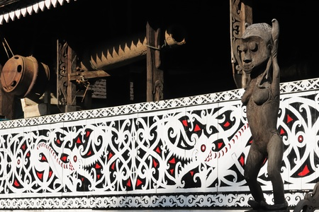 Traditional Dayak tribal culture. Detail Dayak house - longhouse in Long Bagun village. East Kalimantan, Indonesia, Borneo. Editorial