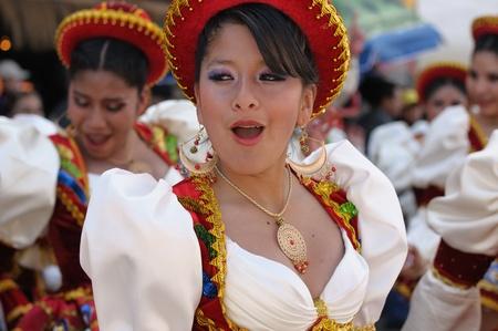 participant: Sucre, Bolivia - September 10: Fiesta de la Virgen de Guadalupe in Sucre. Participant in the dance parade in Sucre on September 10, 2011    Editorial