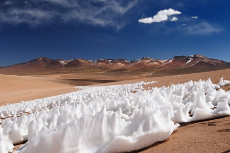 Bolivia - the most beautifull Andes in South America  The surreal landscape is nearly treeless, punctuated by gentle hills and volcanoes near Chilean border  The picture present ice on the desert