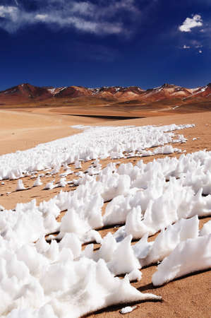 Bolivia - the most beautifull Andes in South America. The surreal landscape is nearly treeless, punctuated by gentle hills and volcanoes near Chilean border. The picture present snow on the desert photo