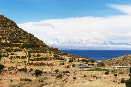 Bolivia � Inca prehistoric ruin�s on the Isla del Sol, on the Titicaca lake, the largest highaltitude lake in the world  3808m  This photo present Chincana labyrinth complex in the north Stock Photo - 12879635