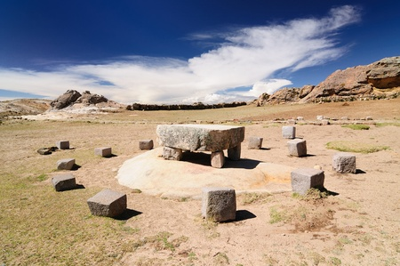 Bolivia � Inca prehistoric ruins on the Isla del Sol, on the Titicaca lake, the largest highaltitude lake in the world (3808m) This photo present Inca ceremonial table photo