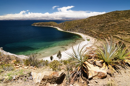 Bolivia - Isla del Sol on the Titicaca lake, the largest highaltitude lake in the world (3808m) This islands legendary Inca creation site and the birthplace of the sun. Landscape of the Titicaca lake photo