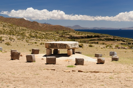 Bolivia Inca prehistoric ruins on the Isla del Sol, on the Titicaca lake, the largest highaltitude lake in the world  3808m  This photo present Inca ceremonial table photo