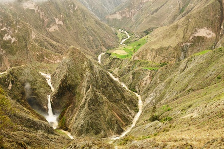 Peru, Cotahuasi canyon  The wolds deepest canyon  The canyon also shelters several remote traditional rural settlements  View no the Uscune waterfalls  photo