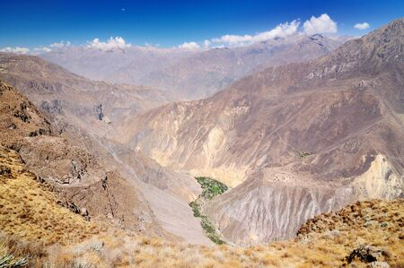 the deepest: Peru, Colca canyon  the secend wolds deepest canyon at 3191m  The canyon is set among high volcanoes and ranges from  1000m to 3000m where life the Condor   View from view point Cruz del Condor