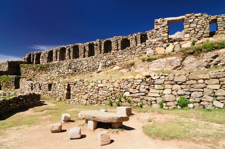 Bolivia Inca prehistoric ruins on the Isla del Sol, on the Titicaca lake, the largest highaltitude lake in the world  3808m  This photo present Chincana labyrinth complex in the north  photo