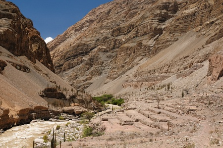 Peru, Cotahuasi canyon  The wolds deepest canyon  The canyon also shelters several remote traditional rural settlements  View no the prehistoric Inca ruins Stock Photo - 13411961