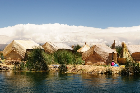 buoyant: Peru, floating Uros islands on the Titicaca lake, the largest high altitude lake in the world  3808m   Theyre built using the buoyant totora reeds that grow abundantly in the shallows of the lake
