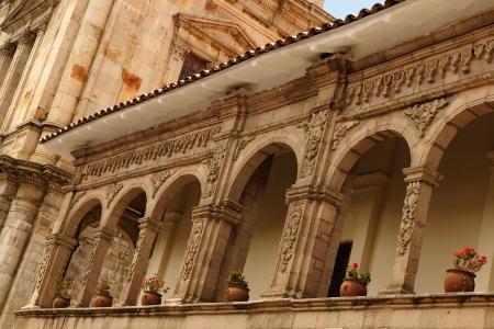 La Paz - la sede del gobierno de Bolivia Paisaje urbano - Plaza Pedro De Murillo, squer principal de la ciudad - detalle de la arquitectura colonial del edificio Foto de archivo - 13748569