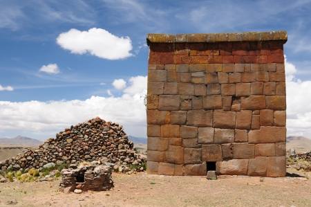 Peru � Inca prehistoric ruins in Cutimbo near Puno, Titicaca lake area. This photo present funerary towers in archaelolgical complex of Cutimbo Stock Photo - 13748571