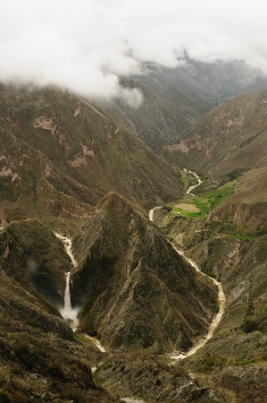 Peru, Cotahuasi canyon  The wolds deepest canyon  The canyon also shelters several remote traditional rural settlements  View no the Sipia waterfalls  photo