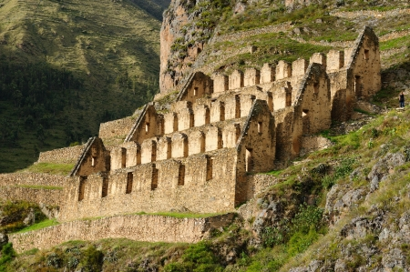 Peru, Ollantaytambo, Pinkulluna Inca ruins in the sacred valley in the Peruvian Andes